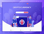 Cryptocurrency Exchange flat concept vector illustration template for website and mobile app development. Flat landing page template.