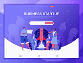 Startup Your Project flat concept vector illustration template for website and mobile app development. Flat landing page template.