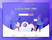 Cloud Computing flat concept vector illustration template for website and mobile app development. Flat landing page template.