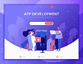 App Development flat concept vector illustration template for website and mobile app development. Flat landing page template.