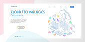 Web page design templates Cloud Computing concept. Isometric cloud services. Internet technology. Online services. Data, information security. Vector illustration.