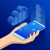 Isometric Cloud Computing concept. Isometric cloud services. Mobile app. Internet technology. Online services. Data, information security. Vector illustration.