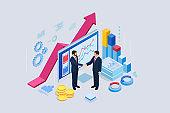 Isometric B2B sales method. Partners shaking hands. Successful entrepreneurs. Data and key performance indicators for business intelligence analytics