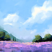digital art painting set of abstract lavender field, acrylic on canvas texture, storytelling illustration