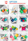 Set of abstract paper geometric infographics