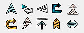 Set of hand drawn arrows. Direction, navigation, download, location and other concept icons