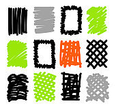 Hand drawn sketch doodle frames, borders, square and rectangle shapes for text