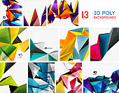 Set of triangular low poly 3d design backgrounds. Geometric triangle shapes technology mosaic patterns.