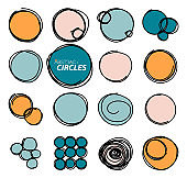 Hand drawn round frames, circles. Set of sketch icons, logos, backgrounds