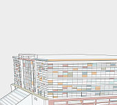 Illustration style library building structure