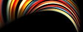 Fluid color swirls on black. Modern background with trendy design