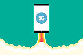 New 5g Smartphone with a title 5G is flying in the sky like a rocket