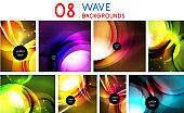 Set of abstract neon graphic design backgrounds, digital geometric futuristic light patterns. Flowing fluid techno templates