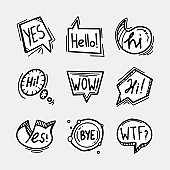 Set of hand drawn speech bubbles, clouds and balloons with some text. Social web internet icons, symbols, logos, banners