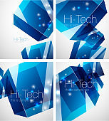 Glass blue cube technology abstract background set
