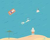 man on beach ,summer vacation