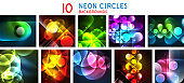 Set of light neon glow circles backgrounds, bright banners with shiny round shapes and electric effects