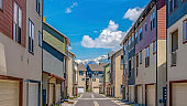 Panorama Rows of houses with a paved road in the middle under blue sky on a sunny day