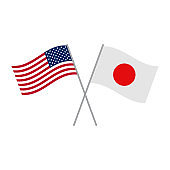 Japan and USA flag vector