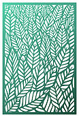 Vector Laser cut panel. Abstract Pattern with leaves template for decorative panel. Template for interior design, layouts wedding invitations, greeting cards, envelopes, decorative art objects etc. Image suitable for engraving, printing, plotter cutting,