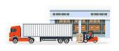 Transportation, logistic delivery of trucks on large van truck.