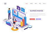 Business analysis. Data analytics of graphs and charts, marketing research.