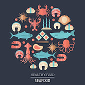 Fish and seafood flat icon