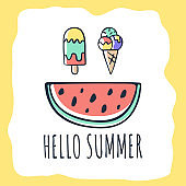 Vector hand drawn Summer Card with lettering Hello summer creative doodle elements as ice cream and watermelon. Can be use for greeting, posters