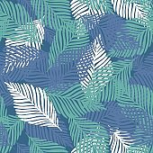 Abstract tropical pattern, palm leaves seamless floral background.