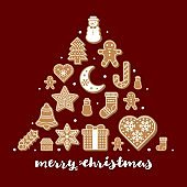 gingerbread cookies arrange as shape for use as poster or background for merry christmas theme editable outline