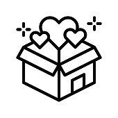 black friday related gift box and hearts vector in lineal style
