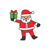 Santa Claus carry gift box in hand flat icon. Editable stroke