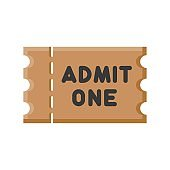 cinema or circus ticket related to art or craft vector in flat design