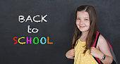 Schoolgirl with backpack. Back to school concept.