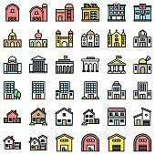 Buildings set filled design editable outline icons of school college house mosque church banks