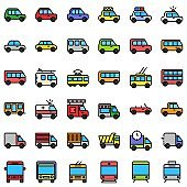 transport editable stroke icons vehicle  such as police car bus taxi ambulance auto rickshaw flat design