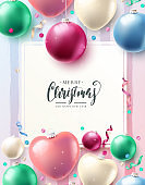 Christmas template with glass baubles and empty