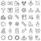 Chirstmas related vector icon set, line style editable outline
