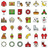 Chirstmas related vector icon set, filled style editable outline