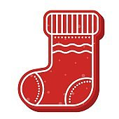 gingerbread sock shape icon editable line detail for christmas decoration