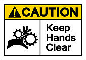 Caution Keep Hands Clear Symbol Sign, Vector Illustration, Isolate On White Background Label. EPS10