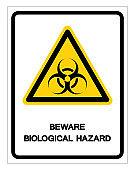 Beware Biological Hazard Symbol Sign ,Vector Illustration, Isolate On White Background Label .EPS10