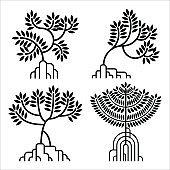 mangrove tree vector silhouette set