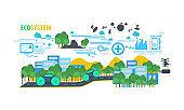 ecology ecosystem technology smart city design concept. illustration vector.
