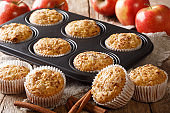Golden muffins made from fresh apples with cinnamon close-up in a baking dish. horizontal