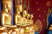 Row of Golden Thai's Buddha statue