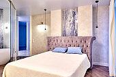 Big comfortable double bed in elegant luxary bedroom
