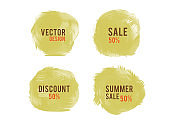 yellow watercolor circle paint, Grunge circle, icon design, Hand drawn design elements, vector brush strokes, sale banner