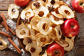 Crispy apple chips made from fresh fruit close-up on a plate. horizontal top view