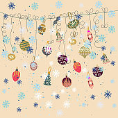 Scandinavian style festive season decor with fluffy snowflakes on beige background